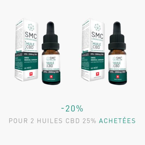 -20% pour 2 Huiles CBD 25% achetées | SMC Laboratories