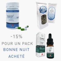 Pack Bonne Nuit I 2 Infusions «Bonne Nuit» + 1 Huile CBD 25% + 1 Boîte de Gélules CBD «Bonne Nuit»